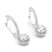 White rhodium sterling silver CZ halo drop earrings in the Constellations collection from One by One
