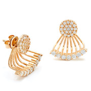 Swing earring small size with seven CZ crystals and pave disc stud in rose gold vermeil