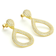 14ct yellow gold vermeil solid teardrop pave CZ crystal drop earrings from One by One Jewellery