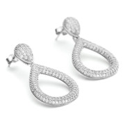 Constellations collection solid shape teardrop earrings in 925 sterling silver and white rhodium finish