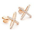 Allobar collection rose gold vermeil CZ stud earrings sterling silver core metal from One by One