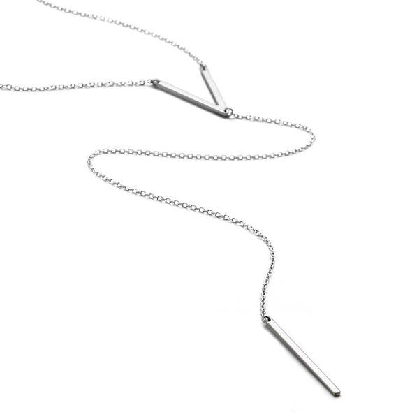 Sterling Silver with white rhodium finish lariat long necklace with V and Ingot charms Allobar collection