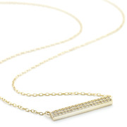 Gold tone Allobar horizontal 4mm width crystal necklace 2 rows of crystals on 40 cm chain