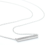 Horizontal Allobar 4mm crystal necklace in white rhodium finish over silver on a 40 cm chain
