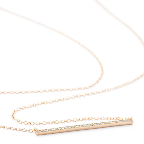 Allobar collection 1.5mm thin rose gold vermeil ingot necklace with crystals from One by One Jewellery