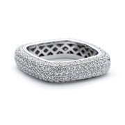 Square shaped 5mm thick white rhodium ring with CZ crystals from One by One Jewellery London