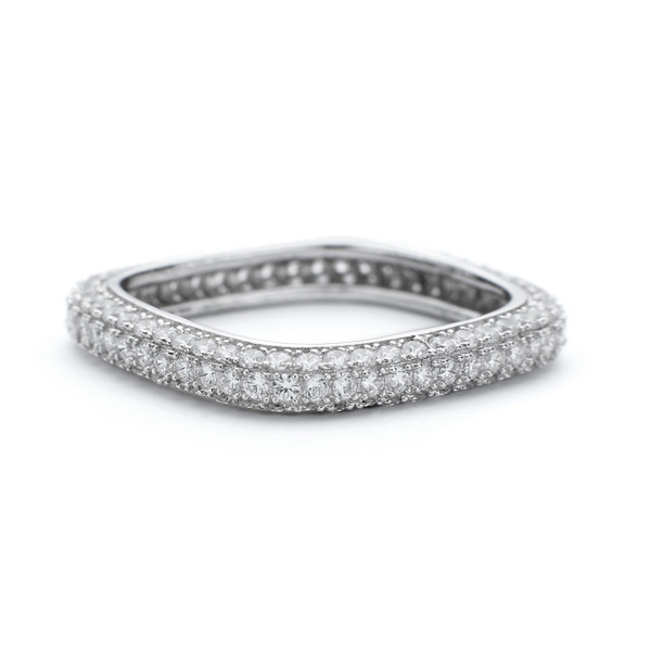 3mm thick band square Constellations ring with CZ crystals in white rhodium over 925 sterling silver