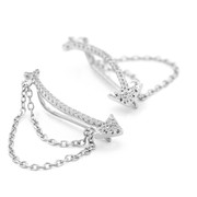 Allobar collection sterling silver with white rhodium Arrow shaped cuff earrings with CZ crystals and chain