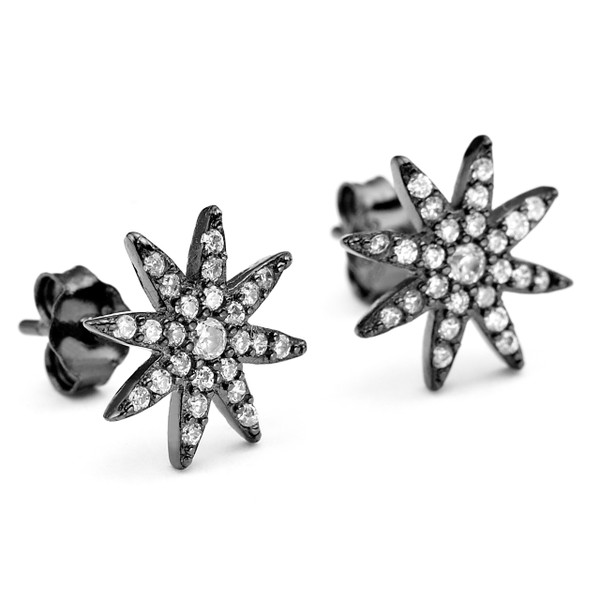 Black rhodium plated sterling silver core metal Constellations starburst CZ stud earrings
