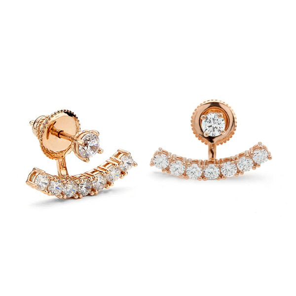 Rose gold vermeil curved bar under lobe CZ swing earrings