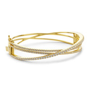 crossover bangle crystal yellow gold vermeil