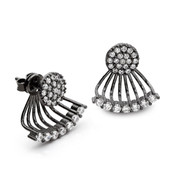 pave cz small disc swing earrings black rhodium plated