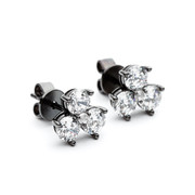 black rhodium triple cluster facetted cz stud earrings