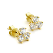 triple cluster cz stud earrings - gold vermeil