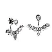 teardrop facetted cz swing earrings - black rhodium