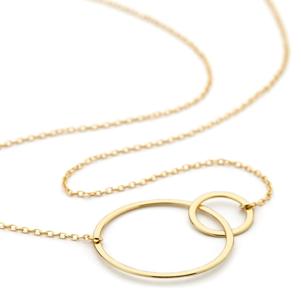 double ring necklace - gold vermeil