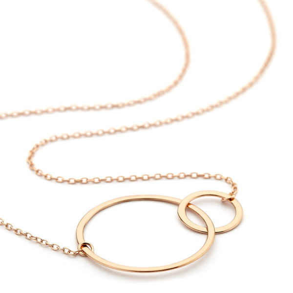 double ring necklace - rose gold vermeil