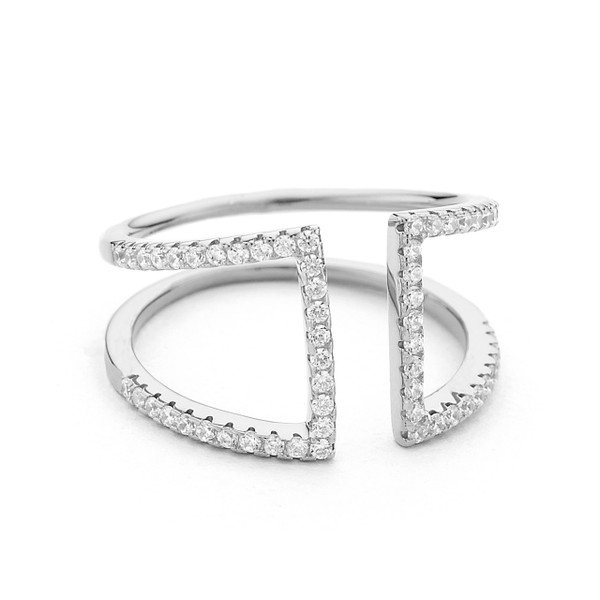 sterling silver open ring cz pave