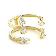 pear cz open stack ring - yellow gold vermeil