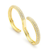 wave two finger ring - white cz pave gold vermeil