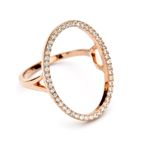 oval open circle ring cz pave - rose gold vermeil