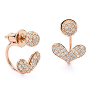 Heart pave front and back swing earrings rose gold