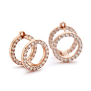 Rose gold double stack earrings with czs forward