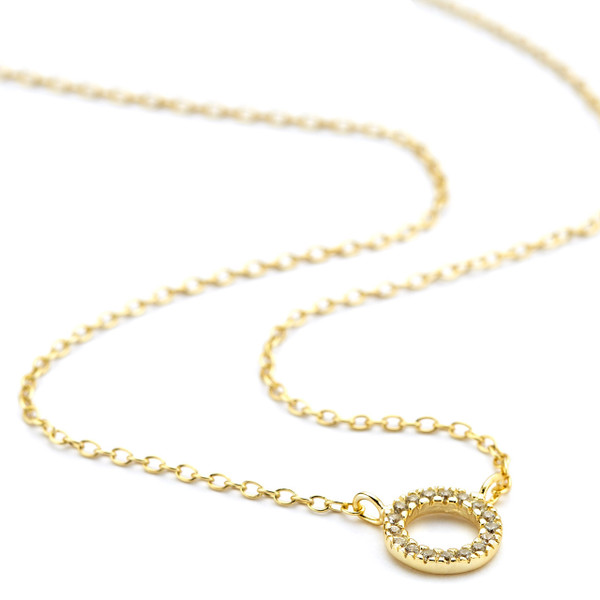 CZ open circle pendant necklace gold vermeil