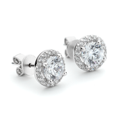 Round stone crystal stud earrings with halo around centre in silver finish from One by One
