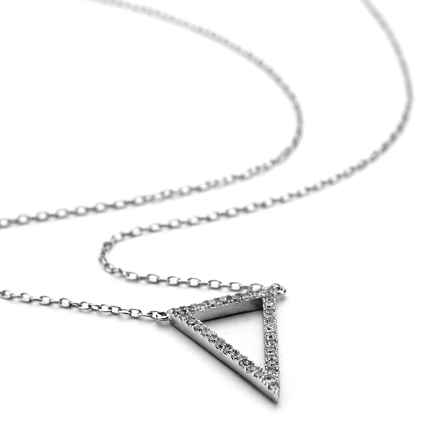 Allobar collection white rhodium prism necklace with crystals in .925 sterling silver from One by One