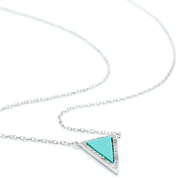 White rhodium Turquoise centre stone prism pendant with crystals border. On a 40 cm extendible chain.