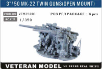 "1/350 Modern Veteran Models US 3""/50 Cal Mk 22 Twin Guns (Open Mount)"