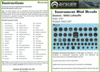1/32 Airscale Luftwaffe Instrument Dial Decals - 3202
