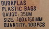 100mm X 150mm 100pk plastic bags information