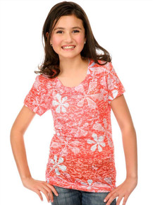 Peach Flower Power Short-Sleeved Tween Burnout