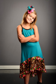 Teal Cheetah Floral Sundress With Bloomers