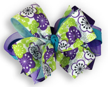 Purple Patchwork Flower Bow
