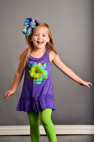 Purple Patchwork Flower Dress