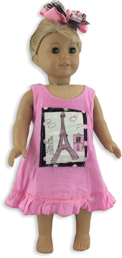 Eiffel Tower Squares Doll Dress