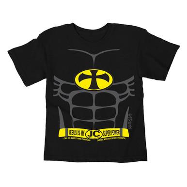 Kids Batman Parody T-Shirt Jesus Is My Super Power Kerusso Tee
