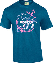 It Is Well With My Soul Pink Anchor on Antique Royal Unisex Tee
