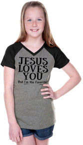 Jesus Loves You But Im His Favorite Tween Teen Raglan Shirt