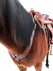 """The """"pulling collar"""" advantage allows for full freedom of movement in your horse's shoulders. Note how the straps criss-cross over the pommel & on either side of the horn for optimal placement of the collar in the horse's neck groove. For particularly large horses, not criss-crossing the straps will afford several more inches in length."""