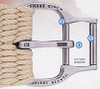 How to use: thread latigo through first roller (1), bring up through saddle d-ring, and bring back through the second roller (2), then finish with the contoured buckle tongue (3). Pull back slightly on the latigo above to securely lock down the tongue.