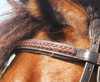 Browband finely finished with punched & braided leather.