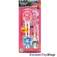 Robocar Poli Stainless Steel Spoon Training Chopsticks Case Set w/ Buttons AMBER