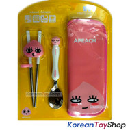 KAKAO Friends APEACH Mascot Spoon Training Chopsticks & Case Set BPA Free Korea