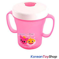 PINKFONG Pink Plastic Two Handle No-Spill Water Cup Silicone Straw Made in Korea