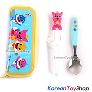 PINKFONG Stainless Steel Spoon Training Chopsticks Case Set Original