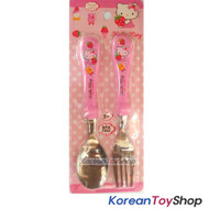 Hello Kitty Stainless Steel Spoon Fork Set Strawberry BPA Free Made in Korea